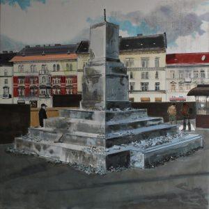 Nemes Csaba: Day to Day, olaj, vászon, 150x150 cm, 2013. courtesy: Knoll Galerie Wien