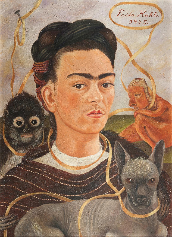 Önarckép majmocskával, 1945 / Self-Portrait with Small Monkey, 1945 Olaj, farost / oil on masonite 56 x 41.5 cm Col. Museo Dolores Olmedo, Xochimilco, México Fotó: Erik Meza/Javier Otaola © Banco de Mexico, Diego Rivera Frida Kahlo Museums Trust, Mexico, D.F. by SIAE 2018