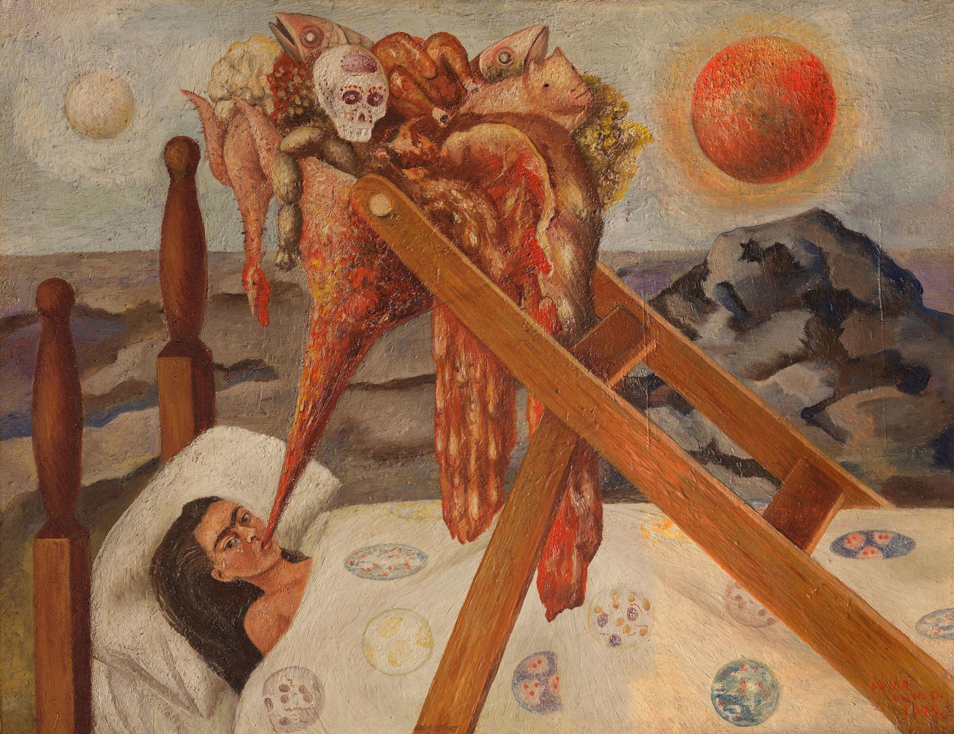 Reményt vesztve, 1945 / Without Hope, 1945 olaj, vászon farostra húzva / oil on canvas, mounted of masonite 28 × 36 cm Col. Museo Dolores Olmedo, Xochimilco, México Fotó: ©Erik Meza/Javier Otaola – ©Archivo Museo Dolores Olmedo